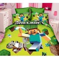 Комплект постельного белья Майнкрафт Стив с киркой Minecraft (1 пододеяльник+1 наволочка+1 простыня без принта)