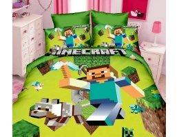 Комплект постельного белья Майнкрафт Стив с киркой Minecraft (1 пододеяльник + 1 простыня + 1 наволочка)